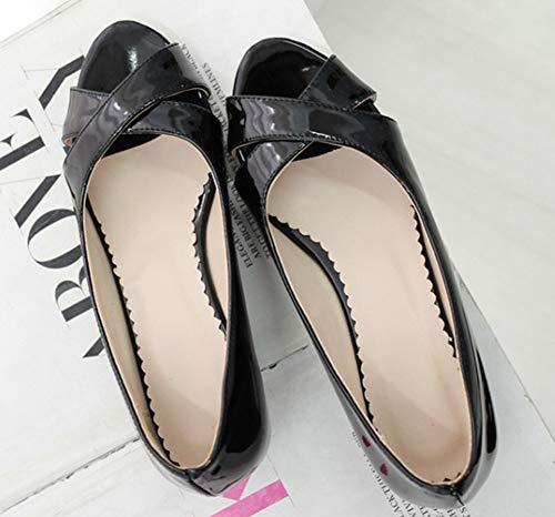Unie Toe Sandales Aisun Bout Femme Couleur Classique Noir Peep Ouvert n8R0xq8A