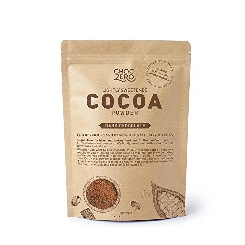 Chocolate Milk Cocoa Powder (ChocZero's Lightly Sweetened Cocoa Powder. Dark Chocolate Original. Sugar free, Low Carb. All Natural, Non-GMO. Best Keto Drink)