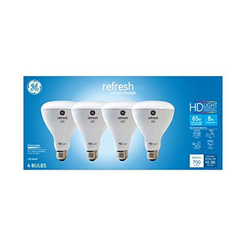 GE Lighting Refresh HD LED Light Bulbs, 65W Replacement, BR30 LED Floodlight, 4-Pack, Daylight, Dimmable Flood Light Bulbs, Indoor, Medium Base