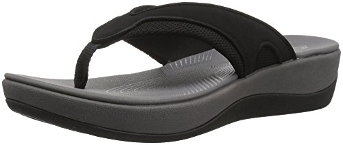 CLARKS Women's Arla Marina Flip-Flop Black Synthetic/Textile Combi 9 Medium US - Marina Planter
