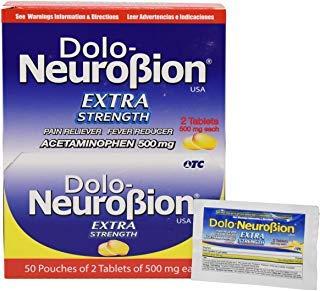 Dolo Neurobion - Pain Reliever, Fever Reducer, Extra Strength, Fuerte, Alivia el Dolor, Reduce la Fiebre Dispenser 50 x 2 Tablets ()