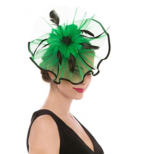 SAFERIN Fascinator Hat Feather Mesh Net Veil Tea Garden Party Accessories Hat Flower Derby Hat with Clip and Hairband for Women (TA1-Green+Black)