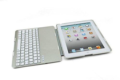 Japace® Plata Alta calidad Aluminio y aleaciones de magnesio caso trasero + ABS teclado inalambrico Bluetooth(QWERTY) carcase cover case con función de ...