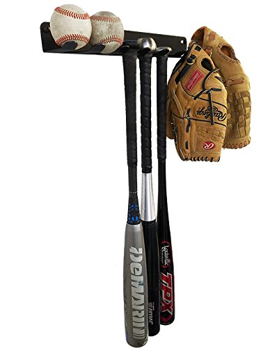 ALPHA Bat Rack (Multi-Purpose) Fence & Wall Mounted STEEL Baseball / Softball Bat Rack / Bat Hooks for Fences and Concrete- Heavy Duty Rack for Storage and Organization (HARDWARE INCLUDED)