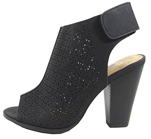 Delicious Women's Cutout Peep Toe Velcro Closure Stacked Chunky Heel Bootie (8.5 B(M) US, Black PU)