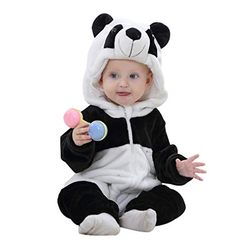 IDGIRL Baby Panda Costume, Animal Cosplay Pajamas for Boy Winter Flannel Romper Outfit 6-12 Months, Black One Piece -