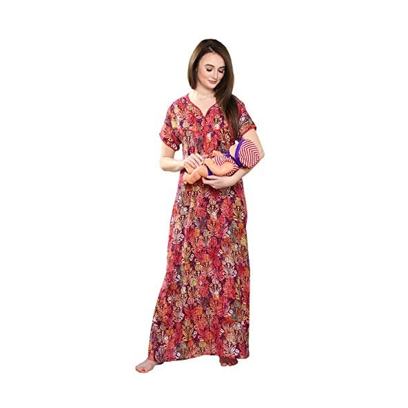 AV2 Women Printed Half Sleeve Feeding & Nursing Nighty 7006