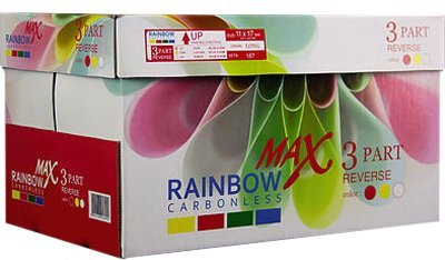 8.5 x 11 Rainbow Max NCR Carbonless Paper, 3 part Reverse, 1670 Sets, 5000 Sheets, 10 Reams