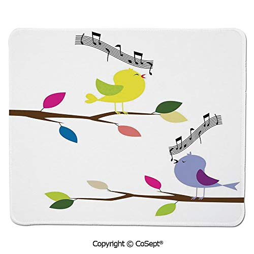 (Non-Slip Rubber Base Mousepad,Illustration of Cute Colorful Birds Singing on a Tree Best Happiness Mascots Artsy Humor,for Laptop,Computer & PC (7.87