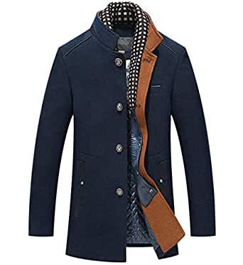 Men's Winter Warm Woolen Coat Business Single Breasted