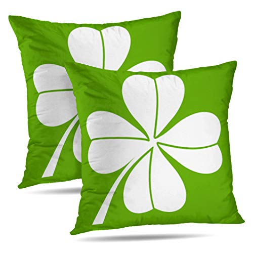 Alricc Set of 2 Four Leaf Clover White Green Celebration Culture Day Decoration Decorative Throw Pillows Cushion Cover for Bedroom Sofa Living Room 18X18 Inches
