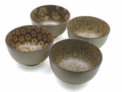 Large Japanese 4 pc Rice Soup Noodle Bowls Sepia