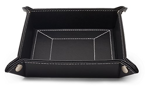 Black Leatherette Mens Valet Tray Catchall and Storage Organizer Gift - Valet Royce Tray Leather