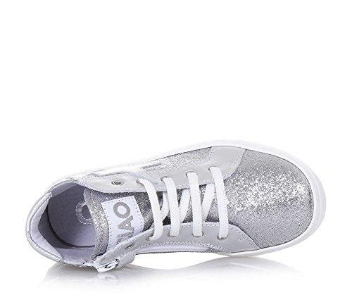 CIAO BIMBI - Zapatilla de cordones plateada, de cuero con glitter, la atención a cada detalle, Niña, Niñas Plata