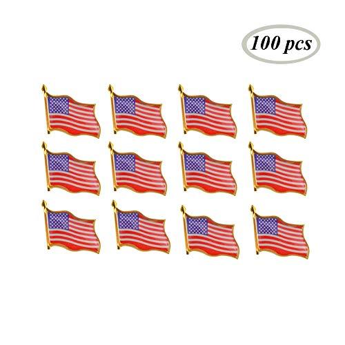Rantanto American Flag Lapel Pin Jewlery United States Waving Flag Pins (100 Pack)
