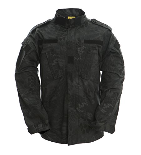 TACVASEN Men Black Python Camouflage Tactical Military Combat Uniform Shirt Jacket Coat for Hunting/Airsoft XL