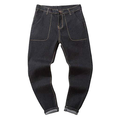 Hombre Jeans Pantalones,Sonnena Vaqueros Ocasionales de algodón de la Vendimia del otoño Denim Cotton Wash Pantalones de Trabajo Jeans Pantalones Larga C