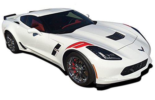 (MoProAuto Pro Design Series C7 Hash : 2014-2019 Chevy Corvette Factory Style Hood to Fender Hash Mark Stripes Vinyl Graphic 3M Decal Kit (FITS All Models) (Color-3M 04 Red))