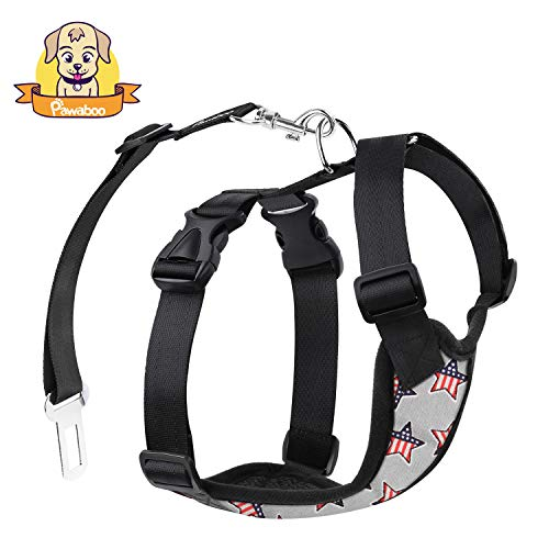 PAWABOO Dog Safety Vest Harness, Pet Dog Adjustable Car Safety Mesh Harness Travel Strap Vest with Car Seat Belt Lead Clip, Small Size, Gray with US Flag
