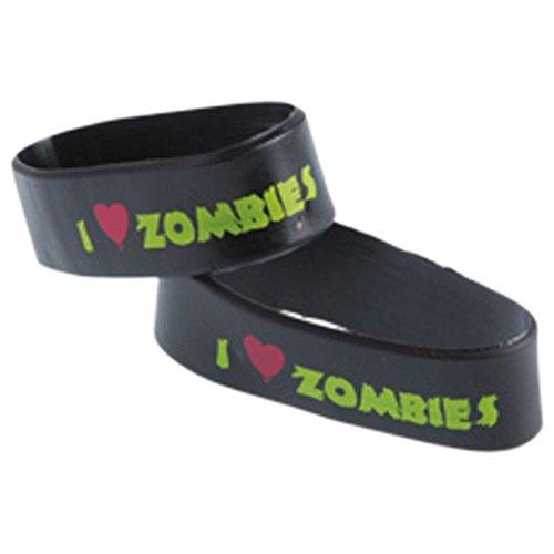 Dozen Black & Green I Love Zombies Stretchy Rubber Bracelets