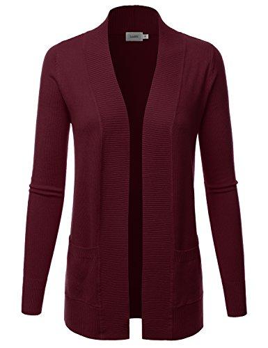 LALABEE Women's Open Front Pockets Knit Long Sleeve Sweater Cardigan-Marsala-S