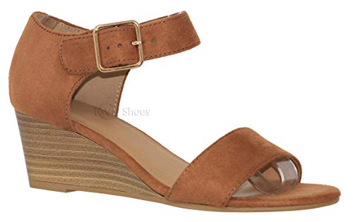 MVE Shoes Womens Open Toe Low Wedge Thick Ankle Strap, Rock tan ISU Size .5
