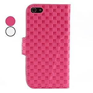 ZL Lattice Pattern PU Leather Case with Stand and Card Slot for iPhone 5/5S (Assorted Colors) , White