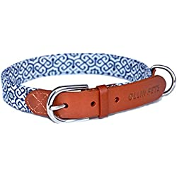 "OLLIN PETS Essential Classic Genuine Real Leather and Elegance Textile Dog Collars, Large size 18-20"", Dog Collar"