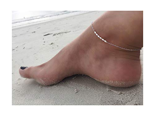 Mevecco Freshwater Pearl Anklet,Sterling Silver 14K Silver Filled Boho Pearl Dainty Handmade Beaded Cute Tiny Charm Beach Ankle Bracelet Foot Chain Anklet for Women ()