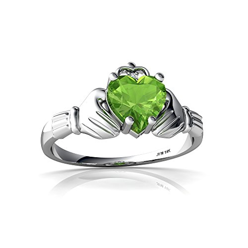 14kt White Gold Peridot and Diamond 6mm Heart Claddagh Ring - Size 6.5