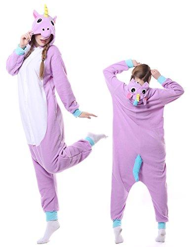 Adult Onesies Unicorn Pajamas Cosplay Costume Animal Kigurumi Halloween Sleepwear for Women Men Purple X-Large