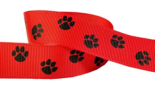 Q-YO Paw Prints Ribbon for Crafts-High School Spirit Grosgrain Ribbon for Breast Cancer Awareness Products, Gift Wrapping, Cheer Bows, Pony Streamers (5yd 7/8