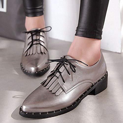 Chaussures Lacets Punk Eleemee Derbiess Femme Gris tISwcq6w4H