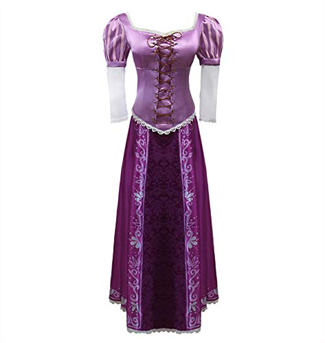CLLMKL Tangled Halloween Cosplay Princess Rapunzel Dress Gown Outfit Suit (Medium)