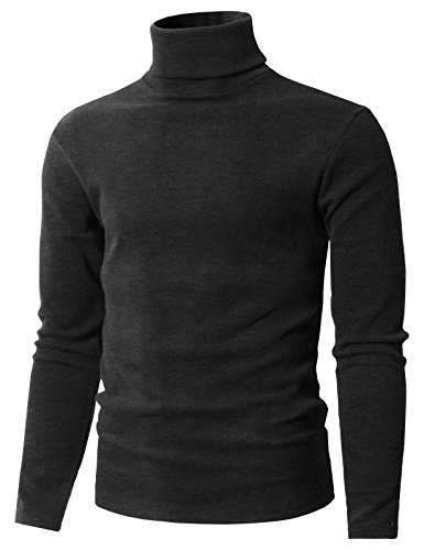 H2H Men's Slim Fit Drawstring Pullover Turtle Funnel Neck Thermal Sweater Charcoal US XL/Asia 2XL (Drawstring Wool Sweater)