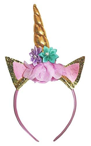 Child Unicorn Costumes (Petitebella Glitter Unicorn Headband Costume Accessory for Girl (gold))