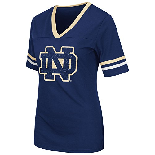 Colosseum Womens Notre Dame Fighting Irish Jeweled Logo Tee Large