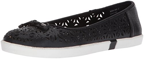 - Kenneth Cole REACTION Women's Row-ing 2 Slip On Skimmer Flat with Bow Detail Ballet, Black, 9 M US
