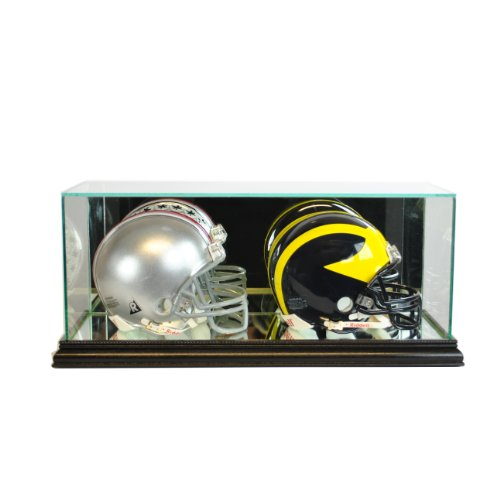 Perfect Cases NFL Double Mini Football Helmet Glass Display Case, Black (Football Case Double Case)