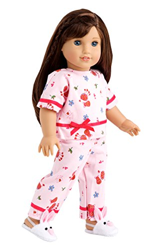 - DreamWorld Collections - Perfect Sleepover - Pink Cozy Pajama with White Bunny Slippers - Clothes Fits 18 Inch American Girl Doll (Perfect Bedding set sold separately) (Doll Not Included)