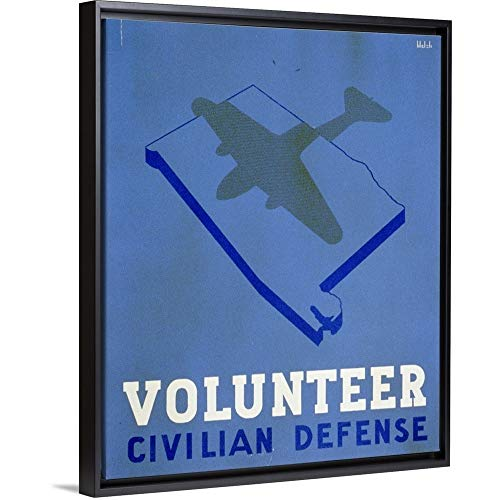 (Floating Frame Premium Canvas with Black Frame Wall Art Print Entitled Volunteer Civilian Defense - WPA Poster)