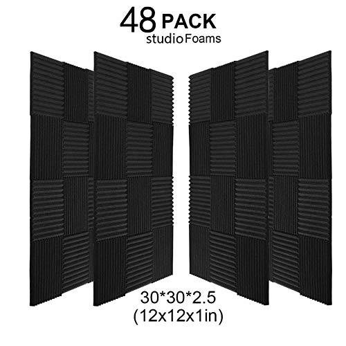 48 Pack Black Acoustic Panels Studio Foam Wedges Fireproof Soundproof Padding Wall Panels 1″ X 12″ X 12″ (48Pack, Black)