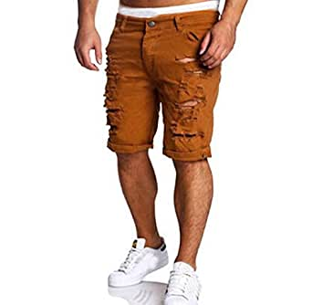 Gloous Men's Fashion Casual Jeans Destroyed Knee Length Hole Ripped Pants (L, Brown)
