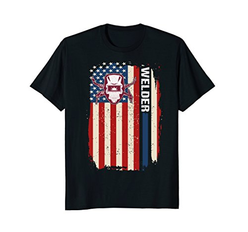 Mens Welder US Flag T shirt | Welder Helmet Art T shirt -