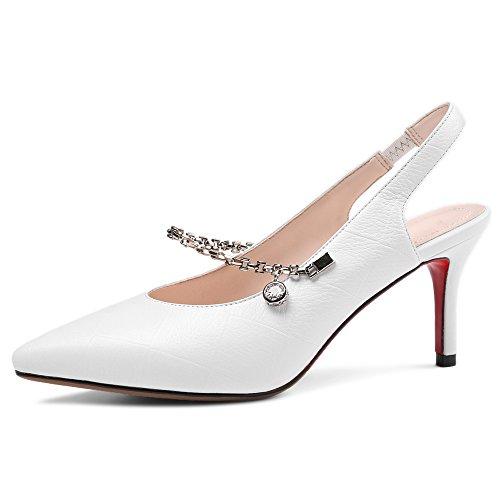 Puntiagudos de Moda de Zapatos Cuero Vestir para Nine blanco Mujer Tacón de Aguja Seven qtFwgc0
