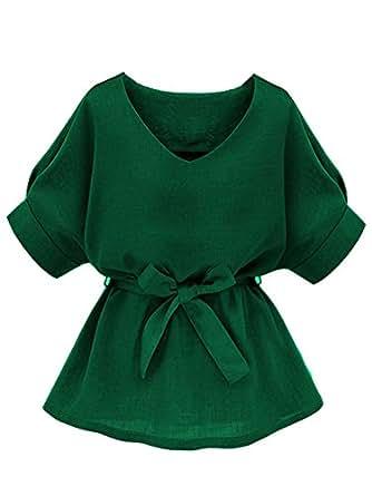 Milumia Women's V Neckline Self Tie Short Sleeve Blouse Tunic Tops Green X-Small