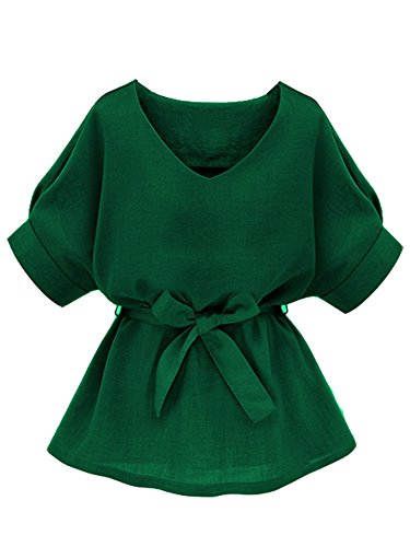 Milumia Womens V Neckline Self Tie Short Sleeve Blouse Tops Green Medium ()