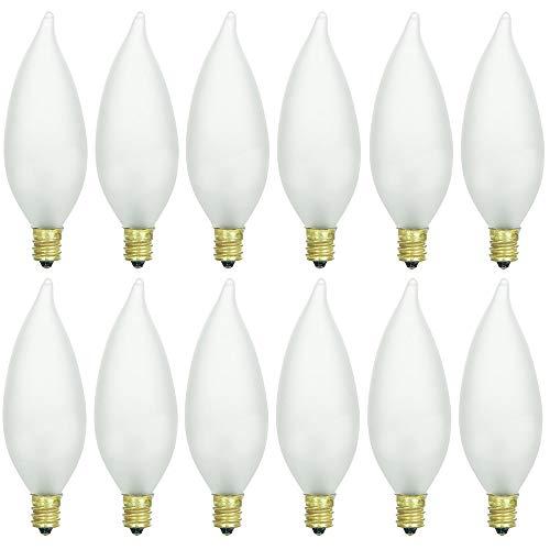 Chandelier Light Bulbs 40 Watt, Frosted Candelabra Light Bulbs, (12 Packs) Flame Tip Incandescent Chandelier Light Bulbs, 120 Volt - Dimmable - Warm White - Candelabra Replacement Bulbs