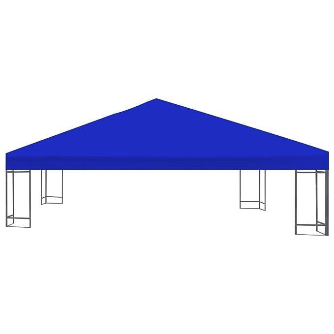 vidaXL Toldo de Cenador 2 Niveles 310 g//m/² 3x3 m Azul Pabell/ón Patio Jard/ín