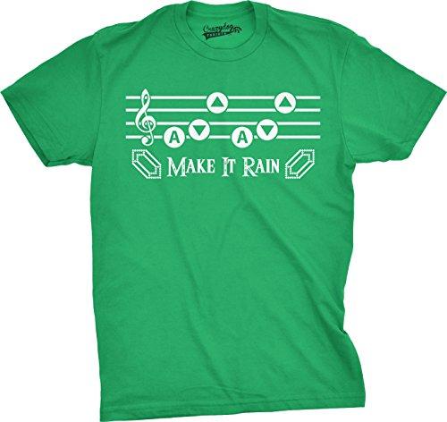 Crazy Dog TShirts - Mens Make It Rain Funny Music Rupee Video Game Nerdy Vintage Gamer T shirt (Green) L - herren - L